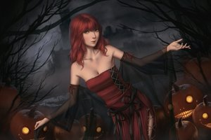 Rating: Safe Score: 19 Tags: breasts cleavage green_eyes halloween miura_naoko nier popol pumpkin realistic red_hair see_through User: SciFi
