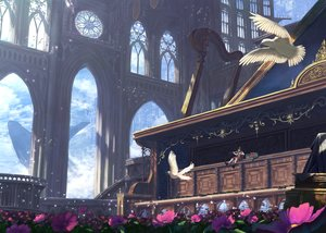 Rating: Safe Score: 51 Tags: animal bird brown_hair clouds dress flowers instrument junkbox long_hair original petals scenic sky violin wolf User: RyuZU