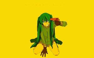 Rating: Safe Score: 71 Tags: blue_eyes gloves green_hair gun hatsune_miku long_hair matryoshka_(vocaloid) polychromatic sagiyama vocaloid weapon yellow User: mattiasc02