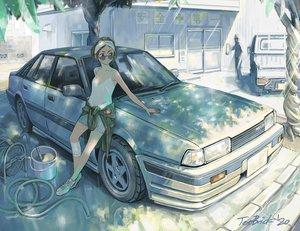 Rating: Safe Score: 32 Tags: brown_hair car glasses jetbrick original short_hair signed tree User: RyuZU