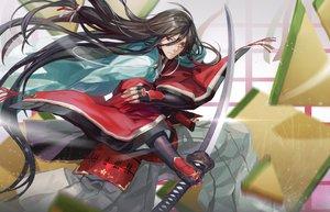Rating: Safe Score: 96 Tags: all_male anthropomorphism black_hair infukun izumi-no-kami_kanesada japanese_clothes katana long_hair male sword touken_ranbu weapon User: Flandre93