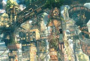 Rating: Safe Score: 31 Tags: building city original rain scenic stairs teikoku_shounen train water User: FormX