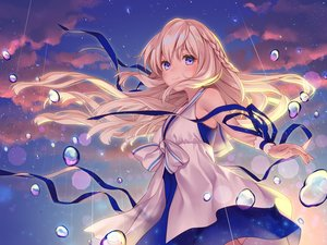 Rating: Safe Score: 81 Tags: blonde_hair blue_eyes clouds dress long_hair ne-on night original ribbons sky stars thighhighs User: BattlequeenYume