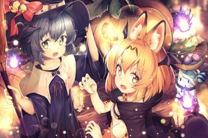 Rating: Safe Score: 93 Tags: animal_ears animal_ears_(artist) anthropomorphism bell black_hair blonde_hair bow catgirl fang green_eyes halloween hat kaban kemono_friends lucky_beast_(kemono_friends) pumpkin serval short_hair staff tail witch_hat yellow_eyes User: BattlequeenYume