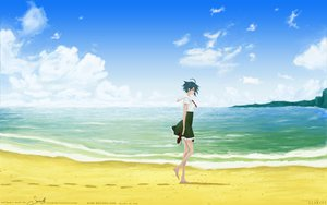 Rating: Safe Score: 33 Tags: barefoot beach clouds miyamori short_hair skirt sky umi_monogatari watermark User: Maboroshi