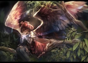 Rating: Safe Score: 91 Tags: hat leaves mystia_lorelei nazoko thighhighs touhou tree wings User: Flandre93