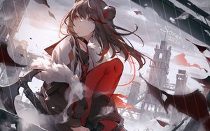 Rating: Safe Score: 68 Tags: animal_ears arknights black_hair blue_eyes building city collar emurina long_hair signed weapon zima_(arknights) User: RyuZU