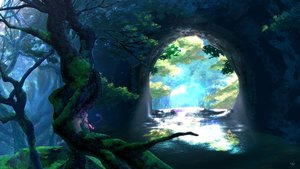 Rating: Safe Score: 83 Tags: animal_ears domco forest landscape long_hair original scenic signed tail tree water white_hair User: BattlequeenYume