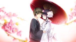Rating: Safe Score: 8 Tags: black_hair cherry_blossoms ensemble_(company) flowers game_cg japanese_clothes kimono koi_wa_sotto_saku_hana_no_you_ni male sumeragi_rei tagme_(artist) toudou_nazuna umbrella wedding wedding_attire User: FormX