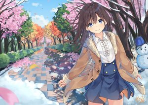 Rating: Safe Score: 88 Tags: autumn blue_eyes brown_hair cherry_blossoms flowers long_hair miko_fly original petals signed skirt snow snowman spring summer tree winter User: RyuZU