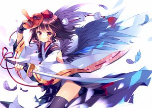 Rating: Safe Score: 161 Tags: mask rie_(reverie) shameimaru_aya sword touhou weapon wings User: opai