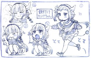 Rating: Safe Score: 47 Tags: blue blush dress headband horns kanna_kamui kobayashi-san_chi_no_maid_dragon loli long_hair monochrome sakino_shingetu sketch tail thighhighs twintails User: otaku_emmy