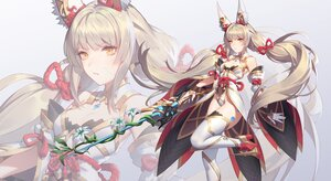 Rating: Safe Score: 63 Tags: animal_ears flowers gloves gray_hair long_hair niyah_(xenoblade) q18607 sword thighhighs twintails weapon xenoblade yellow_eyes zoom_layer User: BattlequeenYume