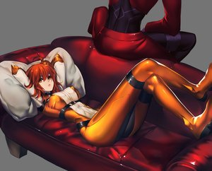 Rating: Safe Score: 33 Tags: archer bodysuit couch fate/grand_order fate_(series) fujimaru_ritsuka_(female) long_hair male orange_eyes rahato red_hair User: BattlequeenYume