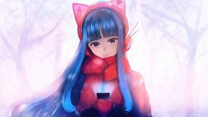 Rating: Safe Score: 18 Tags: animal_ears blue_hair bou_nin brown_hair gloves headphones long_hair original phone scarf User: RyuZU