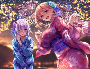 Rating: Safe Score: 131 Tags: 2girls aqua_eyes blush breasts fireworks flowers japanese_clothes orange_eyes orange_hair original piromizu purple_hair sky summer yukata User: Dreista