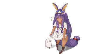 Rating: Safe Score: 50 Tags: animal_ears blush dark_skin fate/grand_order fate_(series) headband kanikou long_hair necklace nitocris_(fate/grand_order) purple_hair white User: RyuZU