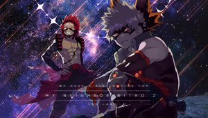 Rating: Safe Score: 12 Tags: all_male bakugou_katsuki blonde_hair boku_no_hero_academia kirishima_eijirou male red_eyes red_hair shocochample short_hair signed sky stars User: RyuZU