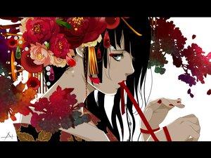 Rating: Safe Score: 165 Tags: black_eyes black_hair flowers japanese_clothes kimono nanahara_shie original User: FormX