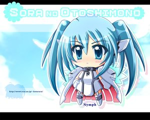 Rating: Safe Score: 37 Tags: aliasing blue_eyes blue_hair cape chibi collar hotaruru jpeg_artifacts long_hair nymph sora_no_otoshimono thighhighs twintails watermark wings User: Kumacuda