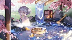 Rating: Safe Score: 107 Tags: blush bronya_zaychik cherry_blossoms flowers gray_eyes gray_hair honkai_impact nude onsen petals rubber_duck tagme_(artist) towel water waterfall User: BattlequeenYume