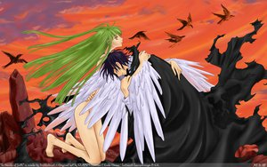 Rating: Safe Score: 36 Tags: cc clamp code_geass green_eyes green_hair lelouch_lamperouge long_hair nude short_hair vector watermark wings User: Katsumi