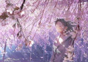 Rating: Safe Score: 39 Tags: black_hair cherry_blossoms crying flowers mocha_(cotton) original petals school_uniform short_hair signed tears User: RyuZU