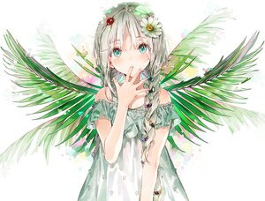 Rating: Safe Score: 98 Tags: aliasing aqua_eyes braids dress dsmile flowers gray_hair leaves long_hair original twintails wings User: mattiasc02