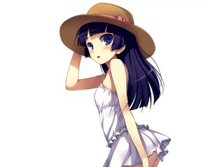 Rating: Safe Score: 179 Tags: blue_eyes dress gokou_ruri hat mugenkidou ore_no_imouto_ga_konna_ni_kawaii_wake_ga_nai summer_dress tomose_shunsaku white User: Wiresetc