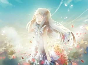 Rating: Safe Score: 112 Tags: ano_hi_mita_hana_no_namae_wo_bokutachi_wa_mada_shiranai domik dress flowers honma_meiko long_hair petals User: Flandre93