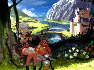 Rating: Safe Score: 58 Tags: blue_eyes bow bow_(weapon) drink flowers gloves grass kesomaru original pointed_ears ponytail scenic shorts sky sword tree water waterfall weapon white_hair User: SonicBlue