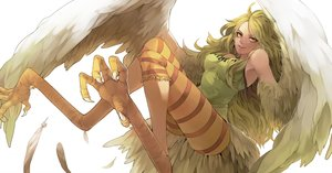 Rating: Safe Score: 147 Tags: blonde_hair feathers long_hair monet_(one_piece) one_piece teebohne wings yellow_eyes User: PAIIS
