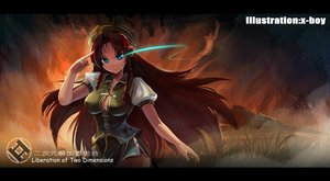 Rating: Safe Score: 10 Tags: braids breasts cleavage hat hong_meiling red_hair touhou watermark x-boy User: luckyluna