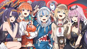 Rating: Safe Score: 85 Tags: amelia_watson animal_ears aqua_eyes blue_eyes book bow breast_hold breasts cape choker cleavage dress fang feathers flat_chest gawr_gura gray_hair group hat headdress hololive hoodie long_hair mori_calliope navel ninomae_ina'nis orange_hair pink_eyes pink_hair pointed_ears purple_eyes purple_hair ribbons shinomu_(cinomoon) shirt short_hair skirt takanashi_kiara tentacles tie wings User: otaku_emmy