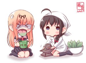Rating: Safe Score: 22 Tags: 2girls anthropomorphism black_hair blonde_hair blue_eyes braids chibi headdress kanon_(kurogane_knights) kantai_collection kneehighs leaves long_hair ponytail seifuku shigure_(kancolle) signed sketch skirt tears white yuudachi_(kancolle) User: otaku_emmy