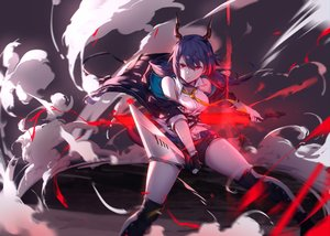 Rating: Safe Score: 46 Tags: arknights blue_hair boots ch'en_(arknights) horns long_hair red_eyes shorts sword tail twintails weapon yumuto User: Nepcoheart