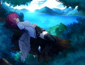 Rating: Safe Score: 133 Tags: blush boots ginzake_(mizuumi) landscape mystia_lorelei panties pink_hair scenic signed skirt thighhighs touhou tree underwear water wings yellow_eyes User: opai