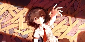 Rating: Safe Score: 40 Tags: brown_hair red_eyes short_hair signed snozaki tie touhou usami_renko User: Dreista