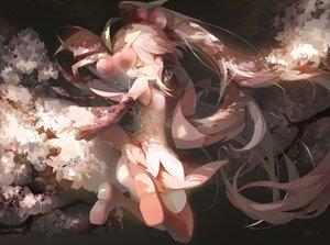 Rating: Safe Score: 122 Tags: cherry_blossoms hatsune_miku saihate sakura_miku thighhighs twintails vocaloid wink User: Flandre93