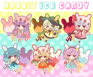 Rating: Safe Score: 26 Tags: animal_ears bicolored_eyes blonde_hair blue_hair bow bunny_ears chibi dress fang flandre_scarlet green_eyes green_hair hat headband komeiji_koishi komeiji_satori lolita_fashion long_hair marshmallow_mille patchouli_knowledge ponytail popsicle purple_eyes purple_hair red_eyes remilia_scarlet ribbons school_uniform short_hair socks summer_dress tatara_kogasa touhou vampire waifu2x watermark wings wink User: otaku_emmy