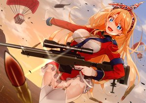 Rating: Safe Score: 36 Tags: aircraft aqua_eyes blush breasts cat_smile cleavage clouds dress fang garter_belt gloves gun headband long_hair military orange_hair original sarujie_(broken_monky) sky sunset thighhighs water weapon User: otaku_emmy