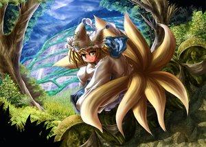 Rating: Safe Score: 9 Tags: animal_ears foxgirl multiple_tails tail touhou yakumo_ran User: Oyashiro-sama