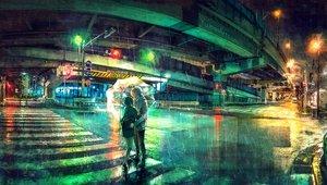 Rating: Safe Score: 52 Tags: aliasing building city long_hair male original rain short_hair skirt umbrella water wenqing_yan_(yuumei_art) User: RyuZU