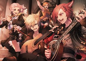 Rating: Safe Score: 16 Tags: 2girls animal_ears bicolored_eyes blonde_hair blue_eyes brown_hair catgirl final_fantasy final_fantasy_xiv glasses gloves g'raha_tia guitar hyur instrument long_hair male mihira_(tainosugatayaki) miqo'te pink_hair purple_eyes red_eyes red_hair short_hair shorts tail tattoo thighhighs User: SciFi