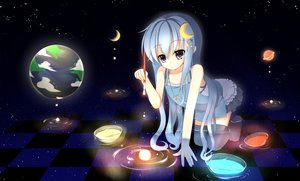 Rating: Safe Score: 111 Tags: blue_hair earth moon necklace original planet space stars tatapopo thighhighs water wet User: opai
