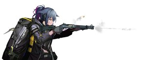 Rating: Safe Score: 50 Tags: animal_ears arknights blood blue_hair choker earmuffs gloves green_eyes gun hamachi_hazuki hoodie jessica_(arknights) navel ponytail torn_clothes weapon white User: Dreista