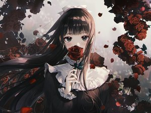 Rating: Safe Score: 83 Tags: black_eyes black_hair bow close daby flowers gothic long_hair original rose User: BattlequeenYume