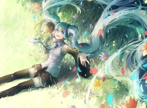 Rating: Safe Score: 47 Tags: aqua_eyes aqua_hair domik flowers grass hatsune_miku leaves long_hair thighhighs twintails vocaloid User: Flandre93
