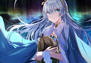 Rating: Safe Score: 43 Tags: anastasia_(fate/grand_order) aqua_eyes cape doll eburidei_hitomigokuu fate/grand_order fate_(series) gray_hair headband long_hair necklace night sky stars User: otaku_emmy