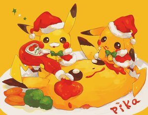 Rating: Safe Score: 19 Tags: bell bow cape christmas food hat hideko_(l33l3b) nobody pikachu pokemon santa_hat yellow User: otaku_emmy